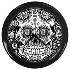 Sugar Skull Wall Clock (Black)