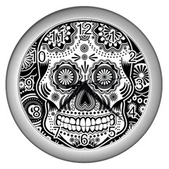 Sugar Skull Wall Clock (Silver)