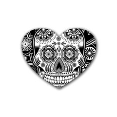 Sugar Skull Drink Coasters 4 Pack (heart)
