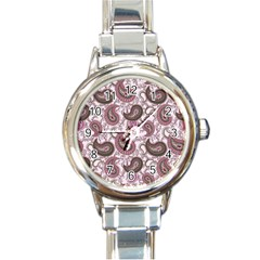 Paisley in Pink Round Italian Charm Watch