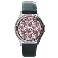 Paisley in Pink Round Leather Watch (Silver Rim)