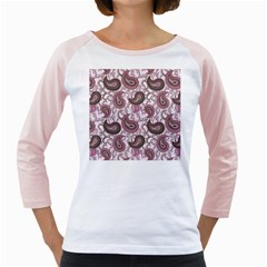 Paisley in Pink Women s Long Cap Sleeve T-Shirt (White)