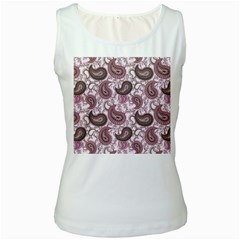 Paisley in Pink Women s Tank Top (White)