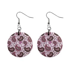 Paisley In Pink Mini Button Earrings