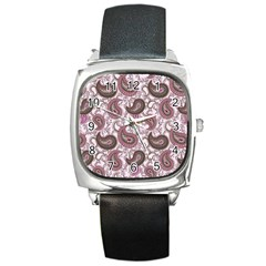 Paisley in Pink Square Leather Watch