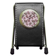 Paisley in Pink Stationery Holder Clock