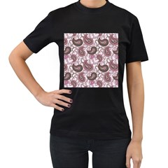 Paisley in Pink Women s Two Sided T-shirt (Black)