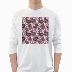 Paisley In Pink Men s Long Sleeve T Shirt (white)