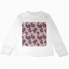 Paisley in Pink Kids Long Sleeve T-Shirt