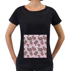 Paisley in Pink Women s Maternity T-shirt (Black)