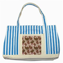 Paisley in Pink Blue Striped Tote Bag