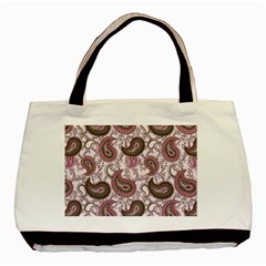 Paisley in Pink Twin-sided Black Tote Bag