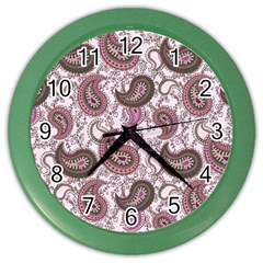 Paisley in Pink Wall Clock (Color)