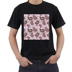 Paisley In Pink Men s T Shirt (black)