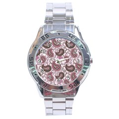 Paisley in Pink Stainless Steel Watch