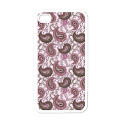 Paisley in Pink Apple iPhone 4 Case (White)