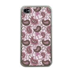 Paisley in Pink Apple iPhone 4 Case (Clear)