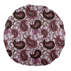 Paisley in Pink 18  Premium Round Cushion