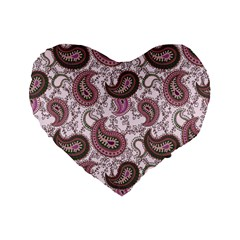 Paisley in Pink 16  Premium Heart Shape Cushion