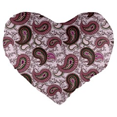 Paisley in Pink 19  Premium Heart Shape Cushion