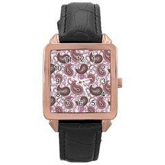 Paisley In Pink Rose Gold Leather Watch