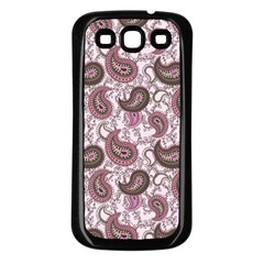 Paisley in Pink Samsung Galaxy S3 Back Case (Black)