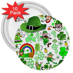 St Patrick s Day Collage 3  Button (10 pack)