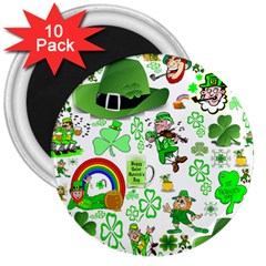 St Patrick s Day Collage 3  Button Magnet (10 pack)