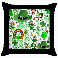 St Patrick s Day Collage Black Throw Pillow Case
