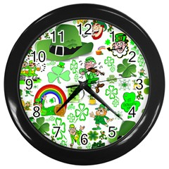 St Patrick s Day Collage Wall Clock (Black)