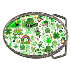 St Patrick s Day Collage Belt Buckle (Oval)