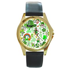 St Patrick s Day Collage Round Leather Watch (gold Rim)
