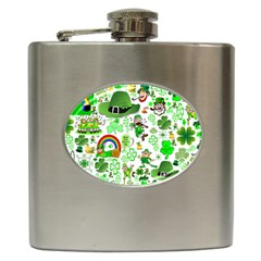 St Patrick s Day Collage Hip Flask