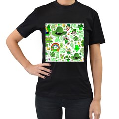 St Patrick s Day Collage Women s Two Sided T-shirt (Black)