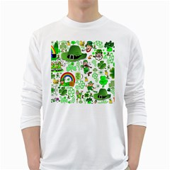 St Patrick s Day Collage Men s Long Sleeve T-shirt (White)