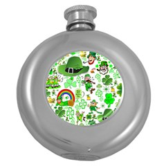 St Patrick s Day Collage Hip Flask (Round)