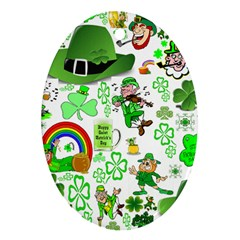 St Patrick s Day Collage Oval Ornament (two Sides)