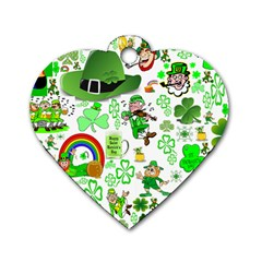 St Patrick s Day Collage Dog Tag Heart (Two Sided)