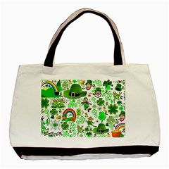 St Patrick s Day Collage Twin Sided Black Tote Bag