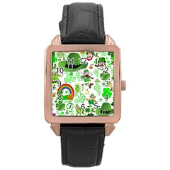 St Patrick s Day Collage Rose Gold Leather Watch