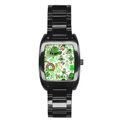 St Patrick s Day Collage Stainless Steel Barrel Watch