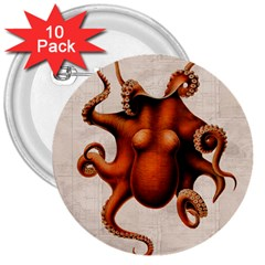 Here There Be Monsters 3  Button (10 pack)