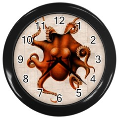 Here There Be Monsters Wall Clock (Black)