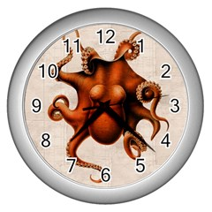 Here There Be Monsters Wall Clock (Silver)
