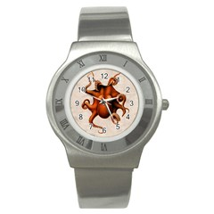 Here There Be Monsters Stainless Steel Watch (Slim)