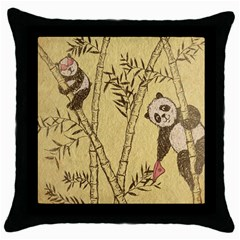 innocent panda Black Throw Pillow Case
