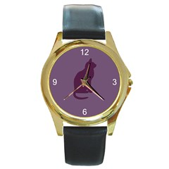 Kitty Round Leather Watch (Gold Rim)