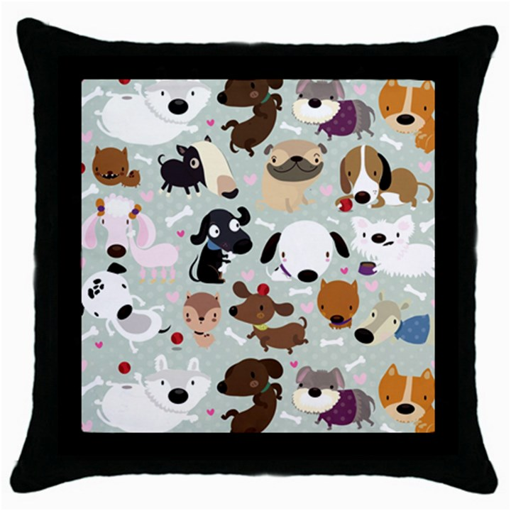 Dog Pattern Black Throw Pillow Case