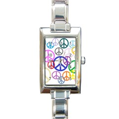 Peace Sign Collage Png Rectangular Italian Charm Watch
