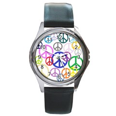 Peace Sign Collage Png Round Leather Watch (Silver Rim)